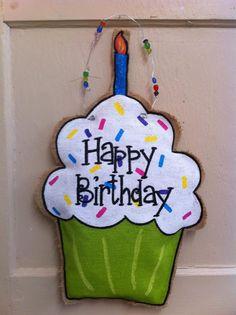 Happy Birthday cupcake burlap door hanger.