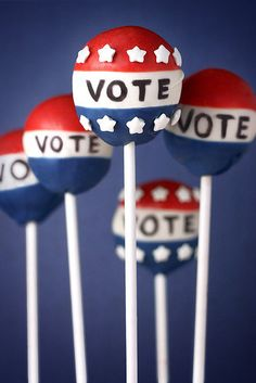I made these last election day. Vote Cake Pops by Bakerella