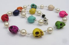 Day of the Dead Necklace Multi color mini skulls with cream glass pearls 17 inches