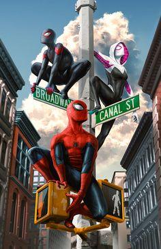 Spider-Man, Miles Morales, Spider-Gwen by Tom Velez - Spiderman All Spiderman, Spiderman Kunst, Amazing Spiderman, Spiderman Poster, Poster Marvel, Marvel Comics Art, Marvel Comic Universe, Marvel Heroes, Miles Morales Spiderman