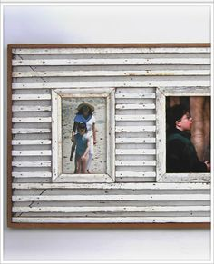 A frame made of narrow strips of wood and hand-painted with a distressed finish.
