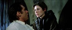 Princess Leia (Carrie Fisher) rescuing Han Solo (Harrison Ford) from carbonite.