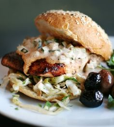 Macrina Recipe of the Month: July--Salmon Sandwich with pickled cabbage and harissa remoulade
