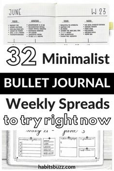 Have a look at these simple and minimalist bullet journal weekly spreads/layout for new ideas! #bulletjournal #bulletjournalweeklylog #bujo #weeklyspread