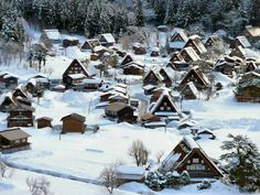 Shirakawa-go  Shirakawa Village, Gifu Pref., Japan. Freezing, but breathtakingly beautiful in winter!