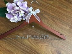 Personalised Wedding hanger; bride coat hanger by bridal bling Australia. Www.bridalbling.com.au