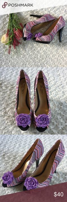 """Poetic License All Mixed Up purple chevron heels 4"""" heels by Poetic License. Purple chevron design with flower on the toe. Peep toe. Size 40 Euro. 10 US. Poetic License Shoes Heels"""