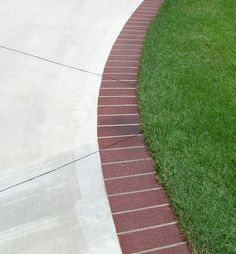 Concrete Patio with Brick Edge- could definitely paint concrete to have same… Brick Border, Brick Edging, Brick Pavers, Outdoor Landscaping, Backyard Patio, Outdoor Gardens, Driveway Landscaping, Landscaping Ideas, Backyard Ideas