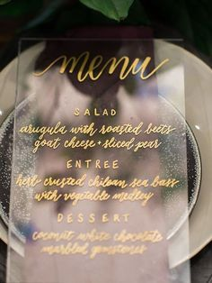 Acrylic Wedding Menu with Gold Calligraphy // modern wedding, place setting, tablescapes