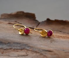 24k gold vermeil and ruby earrings. Birthstone earrings. Tiny Earrings, Silver Drop Earrings, Gold Plated Earrings, Sterling Silver Earrings Studs, Handmade Sterling Silver, Beautiful Gifts For Her, Art Crafts, Beautiful Necklaces, Promotion
