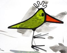 BABY BIRD Little Standing Stained Glass Bird by mbGlassArt