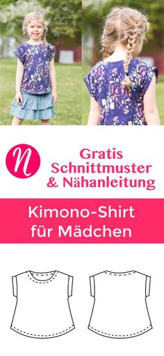 Freebook Kimono T-Shirt für Mädchen ❤ Gr. 2 - 10 ❤ PDF zum Ausdrucken ❤ gratis Schnittmuster mit Anleitung ✂ Jetzt Nähtalente.de besuchen ✂ Free Pattern for a girls Kimono T-Shirt in size 2 - 10. PDF-Sewing-Pattern and sewing instructions.