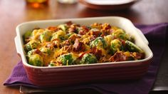 Brussels sprouts bring flavor to cooked bacon in this cheesy side dish, ready in just an hour's time.