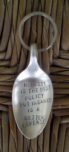 Stamped Spoon Keychain Honesty Is The Best Policy by onecraftivist, $8.00