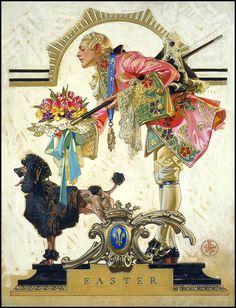 1930 J C Leyendecker Poodle Easter Beautiful Art Print Artwork Vintage Art And Illustration, Easter Illustration, American Illustration, Norman Rockwell, Jc Leyendecker, Graphisches Design, Art Vintage, Creature Design, Retro