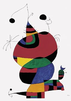 Woman, Bird, and Star (Homage to Picasso), Miro. Miro was a painter who combined abstract art with surrealist fantasy. Pablo Picasso, Miro Artist, Joan Miro Paintings, Seattle Art Museum, Spanish Painters, Art Plastique, Modern Wall Art, Abstract Expressionism, Oeuvre D'art