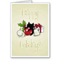 Decorations and Black Kitten (Happy Holidays) Card :)  #Kitten #Cat #christmascards #holidaycards #Holiday #Christmas