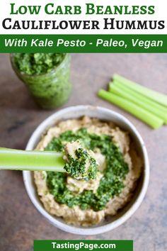 Healthy Low Carb Snacks, Healthy Food Swaps, Vegan Snacks, Healthy Eating, Kale Pesto, Pesto Hummus, Vegan Apps, Paleo Vegan