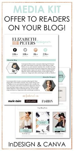 Get this AMAZING Opt-In Freebie template to offer on your blog to increase your email subscribers!  The template is available for both Adobe InDesign and Canva. You can also use it for yourself to make your brand look truly professional! #mediakit #branding | social media kit, social influencer, bloggy badass