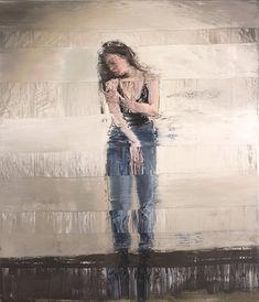 Artwork: Selfreflection II, 2019, oil on canvas, 210 x 180 cm ____ #AndyDenzler #SwissArtist #GlitchArt Glitch Art, Oil On Canvas, Artist, Artwork, Dresses, Fashion, Vestidos, Moda, Work Of Art