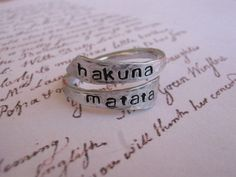 Hakuna matata ring, Disney, Personalized ring, gifts for best friends, Graduation gift, aluminum ring, hakuna matata, best friend