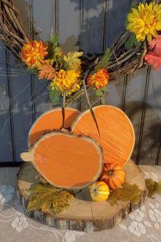 Log Slice Pumpkins - Wood Pumpkins - Rustic Halloween Decor - Reclaimed Wood - Hand Painted Pumpkins - Primaiive Halloween - GFT Woodcraft