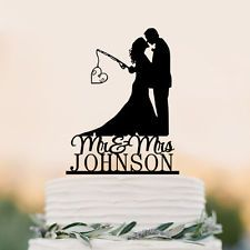 Mr and Mrs  Personalized wedding cake topper Hooked  Love fishing couple decor