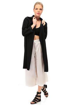 Kocca - Giacche - Abbigliamento - Spolverino lunga in tessuto elasticizzato, con manica a tre quarti e collo alla coreana. - 00016 - € 89.34