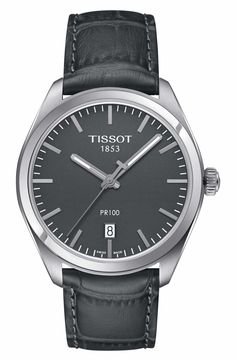 Main Image - Tissot PR100 Automatic Leather Strap Watch, 39mm