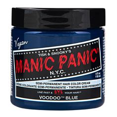Sally Beauty offers Manic Panic Semi-Permanent Hair Colors for a bold and fearless hair color that last weeks. Manic Panic is a direct hair dye that requires no mixing, and is PPD, ammonia, and paraben-free. Vegan and cruelty-free formula. Cabello Manic Panic, Cheveux Manic Panic, Manic Panic Blue, Manic Panic Hair Color, Manic Panic Electric Amethyst, Manic Panic Virgin Snow, Hair Color Cream, White Toner, Hair Toner