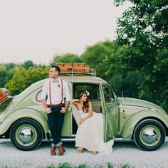 Love this handmade Canadian barn wedding with sweet touches + a vintage beetle!