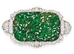 An Art Deco- Platinum, Jadeite and Diamond Pendant-Brooch, Circa 1920