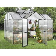 Royal Garden 10' X 10' Greenhouse with 4mm Panels - Black by Royal. $4800.00. Heavy-gauge extruded aluminum framework boasts a black powder-coated finish Rigid 4mm twin-wall UV polycarbonate panels provide insulation Patented push-fit assembly with lock connectors ensures easy assembly 3 full-length, 10' benches on each side of the greenhouse provide plenty of work space 4 roof vents for maximum air circulation and humidity control Automatic roof opener and wall-mounted Smart V...