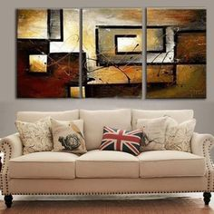 Modern/Abstract Painting/Oil Painting On Canvas Wall Decor No Framed 3Pcs/Set
