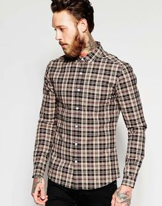 ASOS Skinny Shirt In Camel With Mini Tartan Check In Long Sleeve