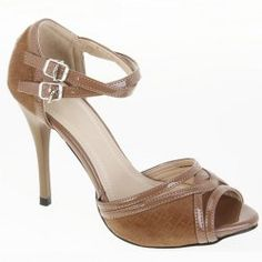 Office High Heel Women's Sandals With Brown Cross Straps and Peep Toes Design