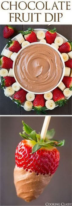 Chocolate Fruit Dip. Use electric hand mixer to whip cream, powder sugar, cocoa powder and cream cheese for good complement to dip bananas and strawberries for a sweet creamy flavor. It can't be better to celebrate your kid's birthday party.: