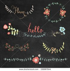 Colorful chalkboard hand drawn graphic flower set - stock vector