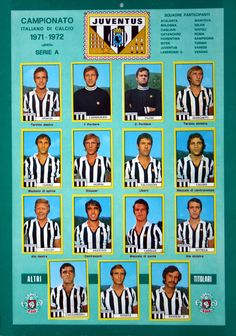 Juventus team stickers for Football Cards, Football Soccer, Baseball Cards, Juventus Team, Leeds United, Turin, Fc Barcelona, Vintage Posters, Nostalgia