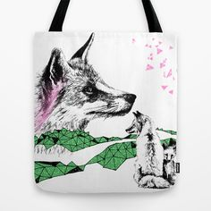Fox+&+Cub,+Green+&+Pink+Tote+Bag+by+Esther+Pallett+-+$22.00