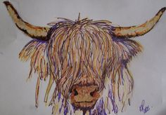 Highland Cow picture mixed media original art work by KPriceArt