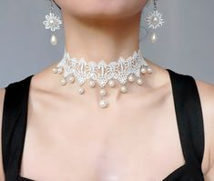 Items similar to white lace pearl beaded choker earrings set// wedding bridal jewelry set // diamond lace earrings retro vintage chic jewelry gift Lacefancy on Etsy Lace Earrings, Lace Necklace, Faux Pearl Necklace, Beaded Choker, Pearl Beads, Necklace Lengths, Bridal Earrings, Pearl Earrings, Vintage Chic