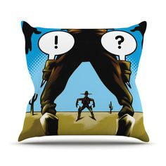 "Thomas Fuchs ""Quick-witted Cowboy"" Blue Brown Outdoor Throw Pillow"