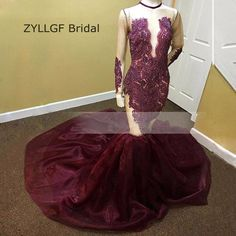 ZYLLGF Bridal 2017 New Arrivals Mermaid Evening Dress Long Sleeve Lace Beaded Special Occasion Formal Evening Wear TS153