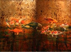 """Koi Series Diptych"" by John Battenberg, 48 x 72, Oil on layerd resin on panel available in Scottsdale at The Marshall 