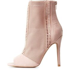 Charlotte Russe Mesh Laser Cut Peep Toe Booties ($35) ❤ liked on Polyvore featuring shoes, boots, ankle booties, blush, peep-toe boots, peep toe bootie, stiletto boots, high heel stilettos and peep-toe ankle booties