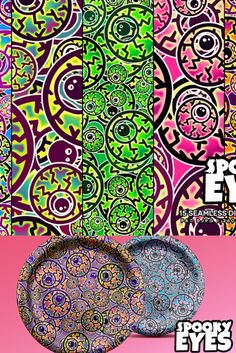 Spooky, eerie eyeballs seamless patterns in groovy, funky, colorful palettes. Mix the seventies and Halloween this Octuber 31st. Great for supplies like: party hats, invitations, paper plates and cups, table runners, bandanas, face masks, etc.