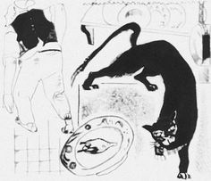 A cat and a cook (the illustration for the fable of Crylov), 1922 - Alexander Deineka - 1200artists.com