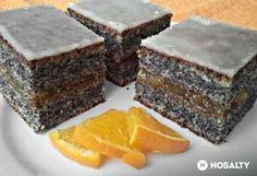 Narancsos bögrés mákos Hungarian Desserts, Hungarian Recipes, Sweet Recipes, Cake Recipes, Dessert Recipes, Salty Snacks, Cake Bars, Sweet Cakes, Homemade Cakes