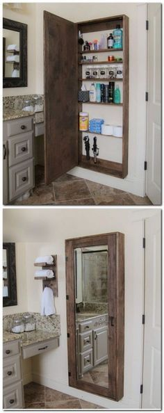 DIY Bathroom mirror storage case that holds everything. - 17 Repurposed DIY Bathroom Storage Solutions-- --not for just the bathroom. Bathroom Mirror Storage, Bathroom Storage Solutions, Bathroom Cabinets, Pallet Bathroom, Kitchen Storage, Master Bathroom, Basement Bathroom, Kitchen Cabinets, Bathroom Crafts